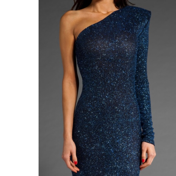 Brian Lichtenberg Dresses & Skirts - Brian Lichtenberg Blue Sequined- One Shoulder